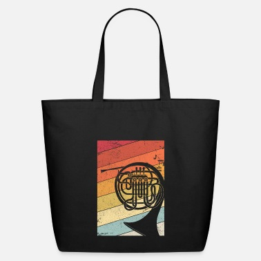 Down French Horn Graphic. Retro Style Brass Band Design - Eco-Friendly Tote Bag