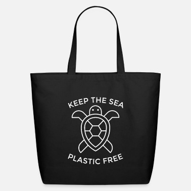 Plastic Keep the sea plastic free. Motivational typography - Eco-Friendly Tote Bag