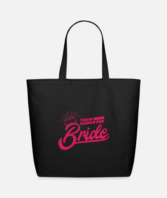 Bachelorette Party Bags & Backpacks - Bachelor Party Team Bride Pink Crown Gift Idea - Eco-Friendly Tote Bag black