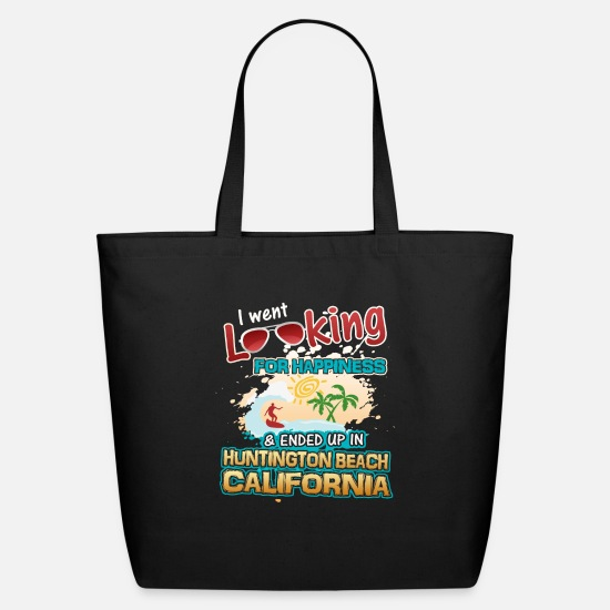 Texas Bags & Backpacks - Looking Happiness up Huntington Beach California - Eco-Friendly Tote Bag black
