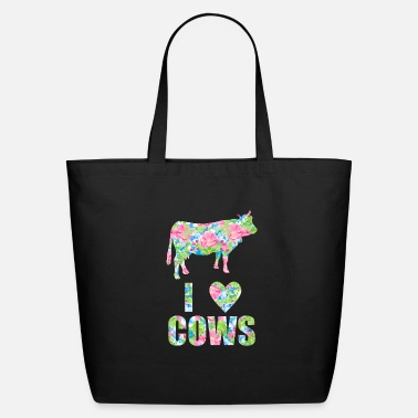 Cow I Love Cows Floral Heart Cow - Eco-Friendly Tote Bag