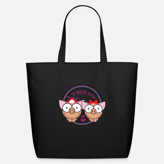Love Bags & Backpacks - Pig I miss you with propeller cap, loop - Eco-Friendly Tote Bag black