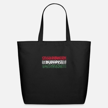 Tourist Hungary Flag with City Names Word Art - Eco-Friendly Tote Bag