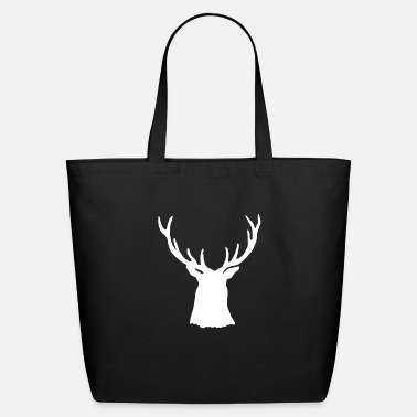 Stag White Stag Buck Head Antlers Silhouette - Eco-Friendly Tote Bag