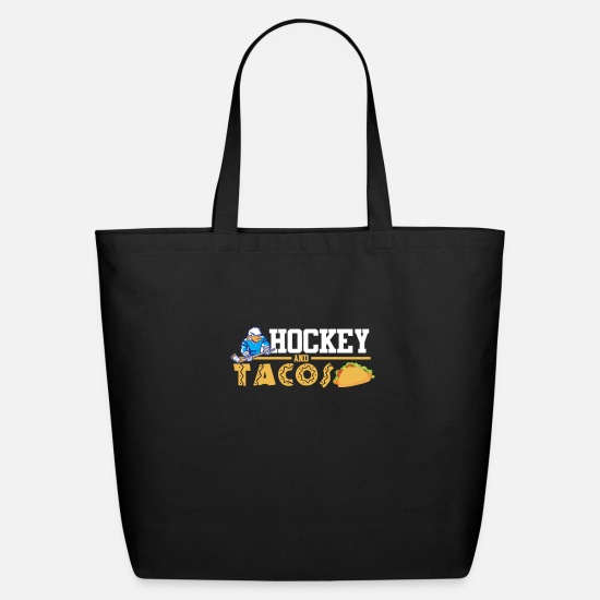 Hockey Bags & Backpacks - Hockey and Tacos Funny Gift - Eco-Friendly Tote Bag black