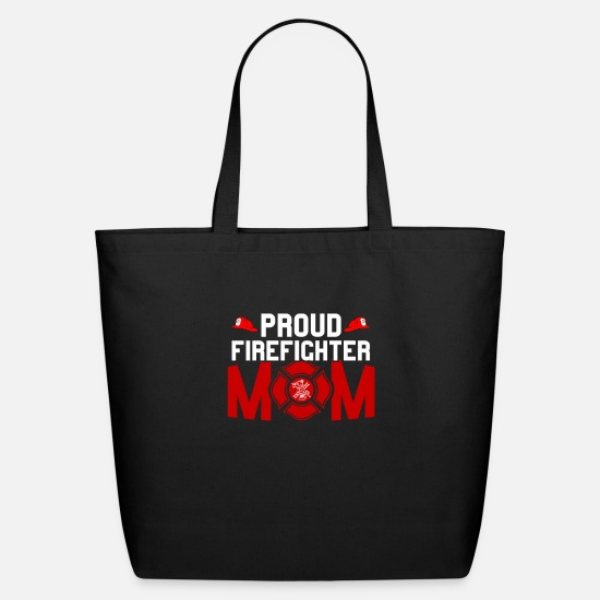 Mom Bags & Backpacks - Proud Firefighter Mom Gift - Eco-Friendly Tote Bag black