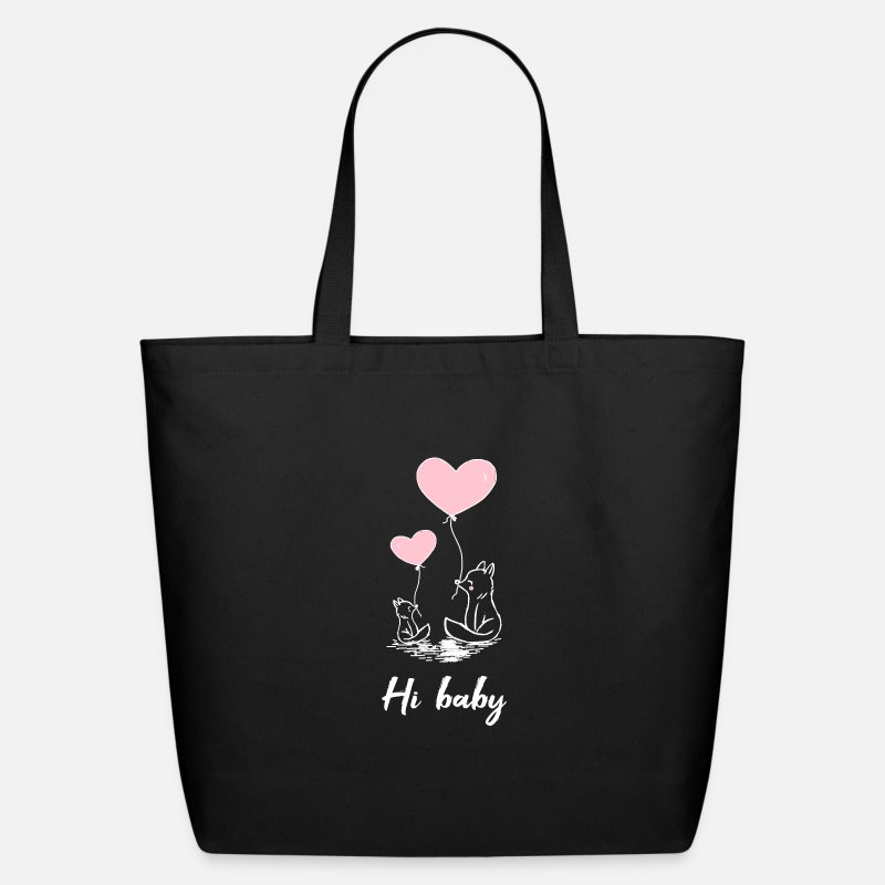 Love Bags & backpacks - Hi baby love valentine's day marriage couple - Eco-Friendly Tote Bag black