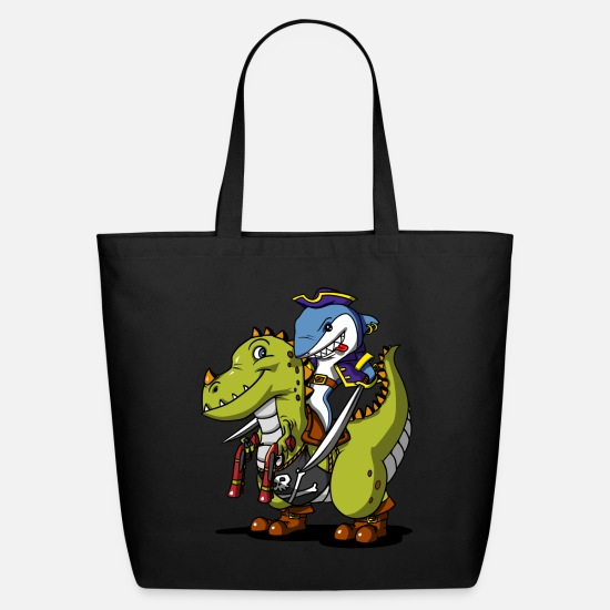 Ocean Animals Bags & Backpacks - Shark Pirate Riding A T-Rex Dinosaur Captain - Eco-Friendly Tote Bag black