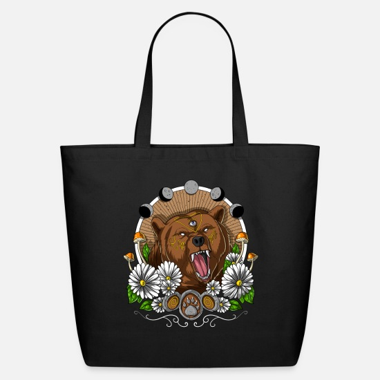 Mushroom Bags & Backpacks - Psychedelic Bear - Eco-Friendly Tote Bag black