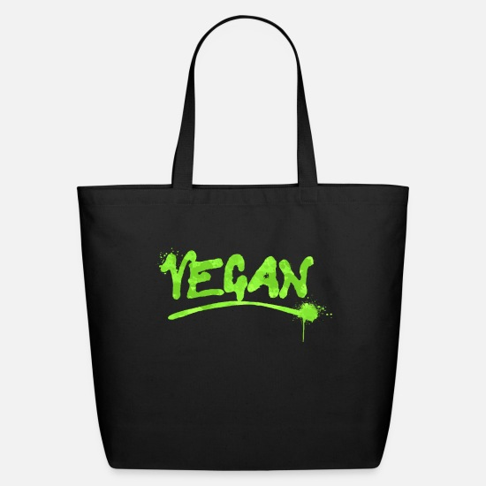 Vegan Bags & Backpacks - Vegan Paint Veganism Vegans Vegetarian - Eco-Friendly Tote Bag black