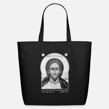 With Scriptures Jesus Christ Icon Scripture white text - Eco-Friendly Tote Bag