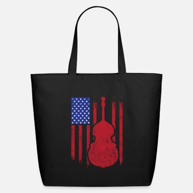 Wear Retro Distressed Double Bass American Flag Gift - Eco-Friendly Tote Bag
