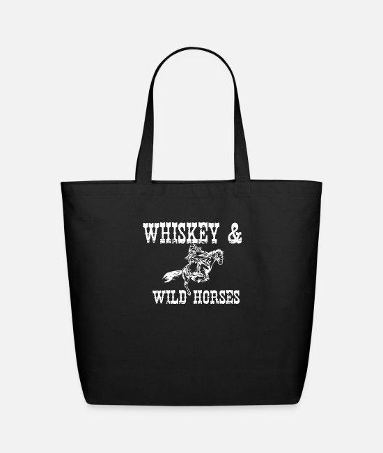 Wild Cat Bags & Backpacks - Whiskey Wild Horses - Eco-Friendly Tote Bag black