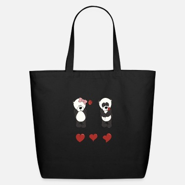 High Res Panda Bear Valentine Vector Graphic - Eco-Friendly Tote Bag