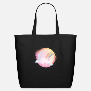 Element pink sky with rainbow and delicate clouds - Eco-Friendly Tote Bag