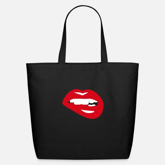 Lip Bags & Backpacks - Sexy Lips - Eco-Friendly Tote Bag black