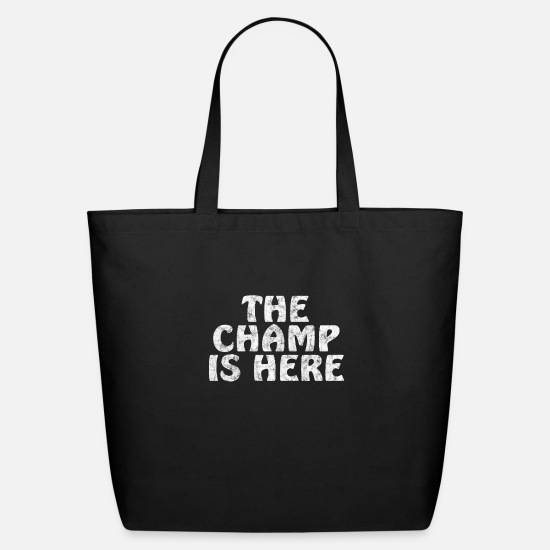 Here Bags & Backpacks - champ is here - Eco-Friendly Tote Bag black