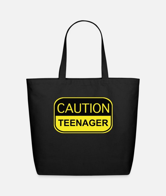 Teenager Bags & Backpacks - Caution Teenager - Eco-Friendly Tote Bag black