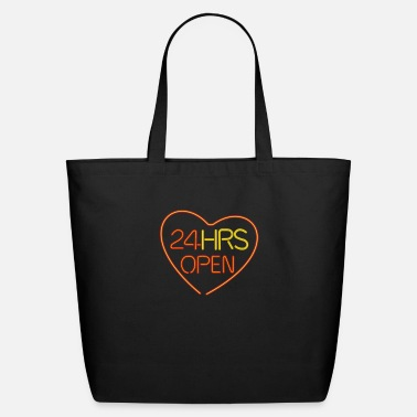 Neon neon sign: 24 hrs open heart - Eco-Friendly Tote Bag