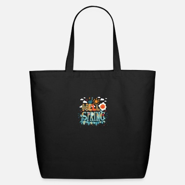 Hello Hello SPRING Tee shirt | Musical note, singing bir - Eco-Friendly Tote Bag