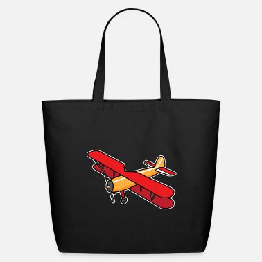 Pilot ✈ Biplane Design | Aircraft in Cartoon Style ✈ - Eco-Friendly Tote Bag