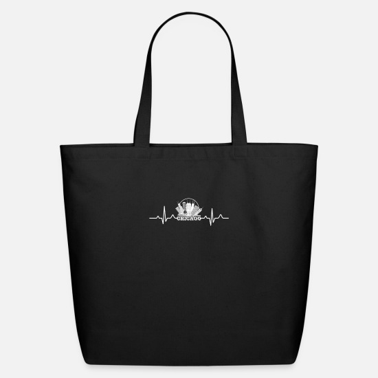 Chicago Bags & Backpacks - Chicago Heartbeat Shirt - Eco-Friendly Tote Bag black