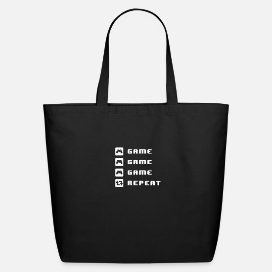 Game Bags & Backpacks - game game game repeat - Eco-Friendly Tote Bag black