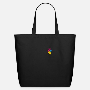 Rainbow Pan Pride LGBTQ Retro Pansexual Heart - Eco-Friendly Tote Bag