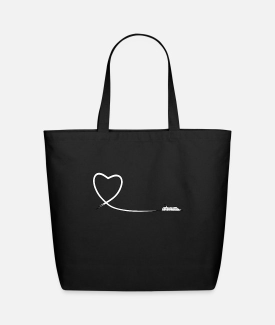 Travel Bags & Backpacks - Heart route cruise ship white - Eco-Friendly Tote Bag black