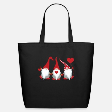 Gnome Cute Three Gnomes Holding Hearts Valentines Gift - Eco-Friendly Tote Bag