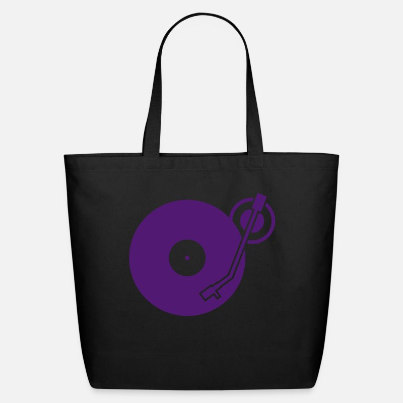 Dj Bags & backpacks - headphones record disc platter disk dj record play techno minimal - Eco-Friendly Tote Bag black