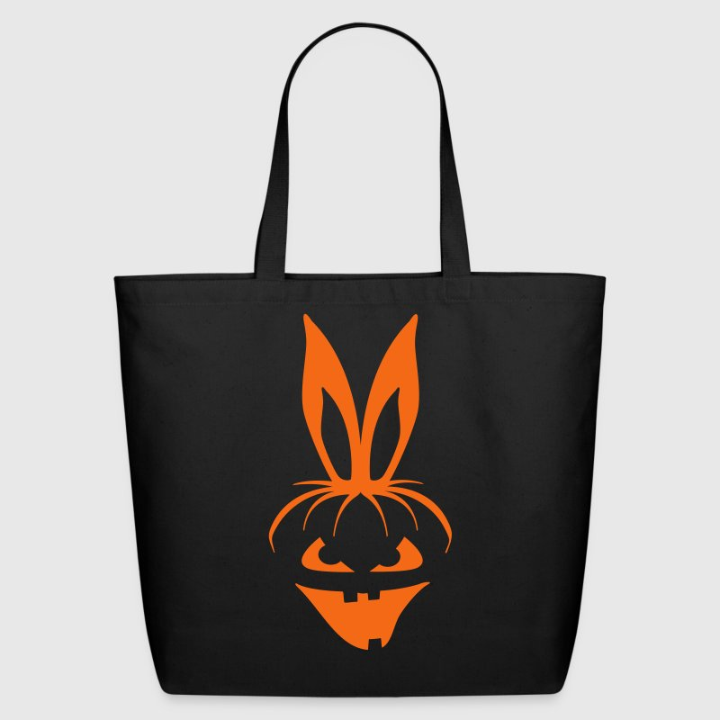 pumpkin bunny rabbit ears halloween hare scary  - Eco-Friendly Cotton Tote