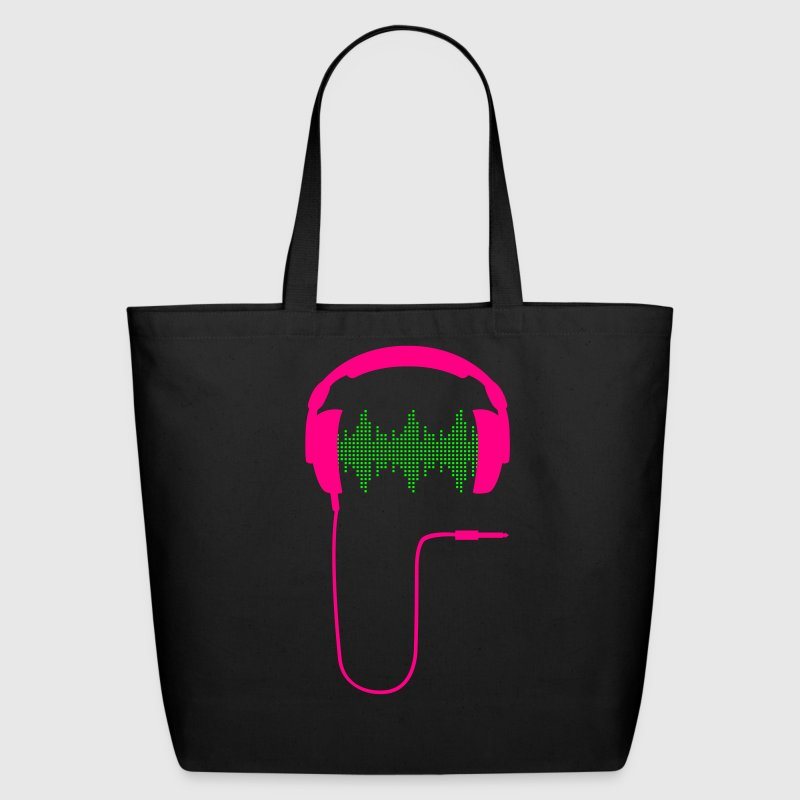 dj headphones frequency music beat sound techno hip hop dance electronic pop club turntable record - Eco-Friendly Cotton Tote