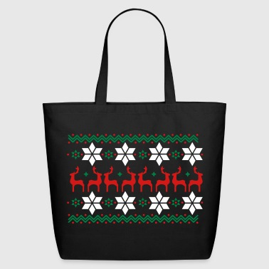 Poinsettia pattern and reindeer pattern  - Eco-Friendly Cotton Tote