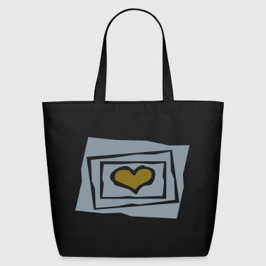 Heart In 3 Jagged Frames, Cutouts, 2 Color - Eco-Friendly Cotton Tote
