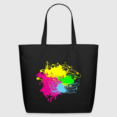 Long Colors Paint Splatter - Graffiti Graphic Design - Multicolor  - Eco-Friendly Cotton Tote