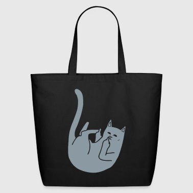 Fuck You Cat shows Middlefinger - Eco-Friendly Cotton Tote