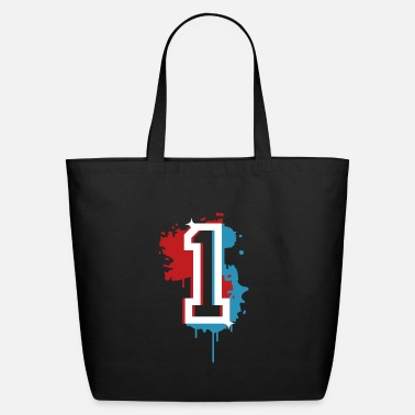 Stencil The number one as a graffiti - Eco-Friendly Tote Bag
