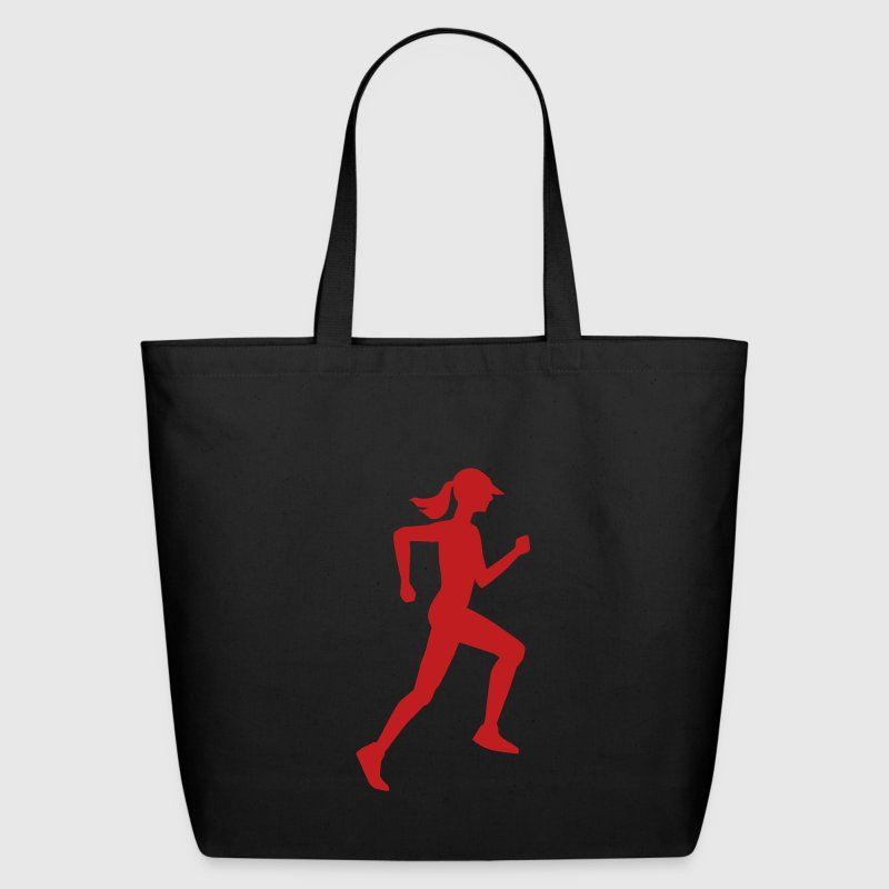 Woman Runner Outline - Eco-Friendly Cotton Tote