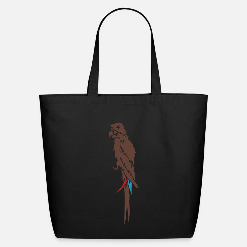 Captain Bags & backpacks - Parrot pirate with eye patch, pirate hat and hook  - Eco-Friendly Tote Bag black