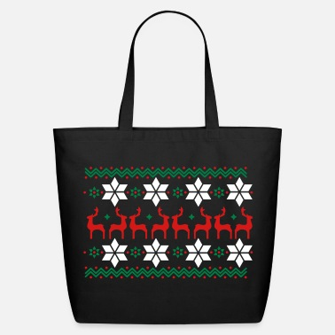 Christmas Poinsettia pattern and reindeer pattern  - Eco-Friendly Cotton Tote