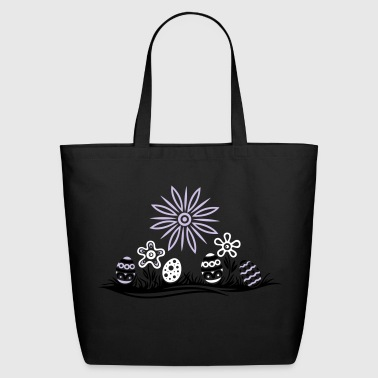 Meadow Easter eggs and flowers, meadow - Eco-Friendly Cotton Tote
