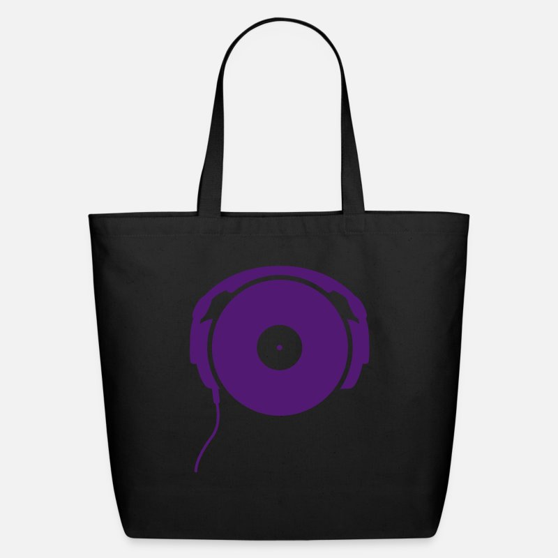 Record Bags & backpacks - DJ turntable music dance techno club headphone vinyl record vinyl minimal detroit bass sound - Eco-Friendly Tote Bag black