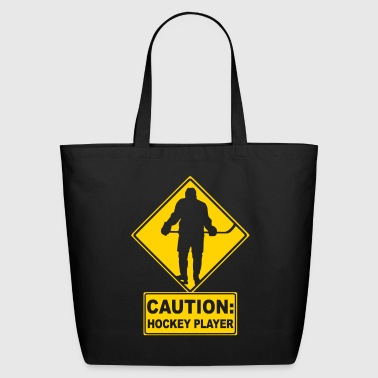 CAUTION: Hockey Player - Eco-Friendly Cotton Tote