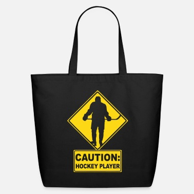 Hockey CAUTION: Hockey Player - Eco-Friendly Cotton Tote