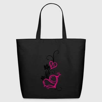 Two hearts with flowers - Eco-Friendly Cotton Tote