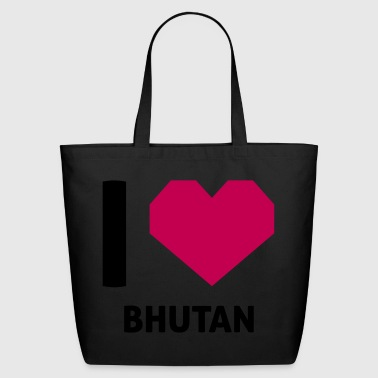 Shirt I Love Bhutan - Eco-Friendly Cotton Tote