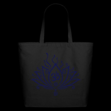 Lotus flower, Yoga with om symbol - Eco-Friendly Cotton Tote
