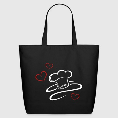 Cook, logo, chef hat with three hearts. - Eco-Friendly Cotton Tote