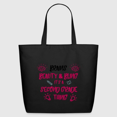 Beauty brains & bling its a second grade thing - Eco-Friendly Cotton Tote
